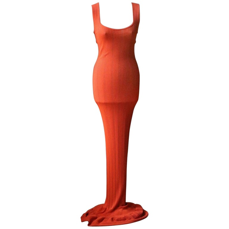 Azzedine Alaia 1990's Orange Knit Maxi Dress