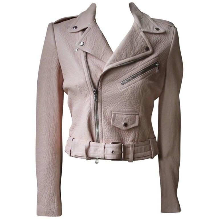 Alexander McQueen Pink Cropped Leather Biker Jacket