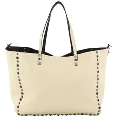 Valentino Rolling Rockstud Reversible Convertible Tote Leather with Cabochons Me