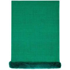 Verheyen London Handwoven Mink Fur Trimmed Cashmere Shawl in Emerald Green