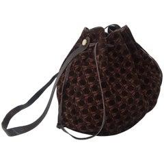 Vintage Ferragamo Brown Suede Logo Drawstring Hobo Handbag