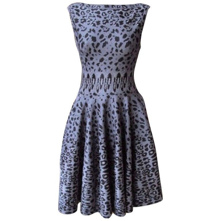 Azzedine Alaia Leopard-Print Stretch Knit Dress