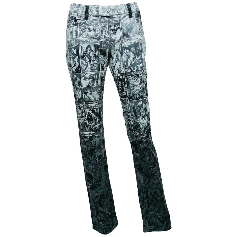 Jean Paul Gaultier Comic Cartoon Print Pants Trousers