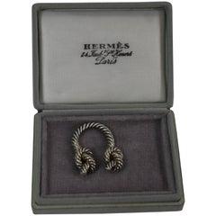 Vintage Hermes Silver Knot Keyrring