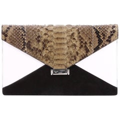 Celine Diamond Clutch Leather with Python and Suede