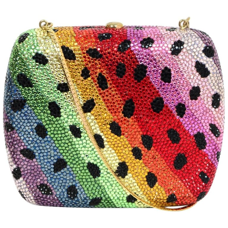 Judith Leiber Rainbow Leopard Minaudiere Clutch Bag
