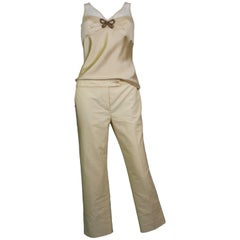 John Galliano Nude Tank and Capri Pants Set, c. 2000's, size US 6