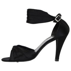 Chanel Black Satin Sandals Sz 41