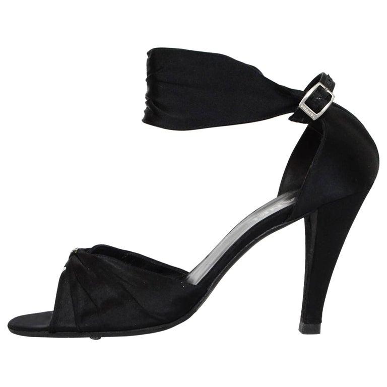 Chanel Black Satin Sandals Sz 41