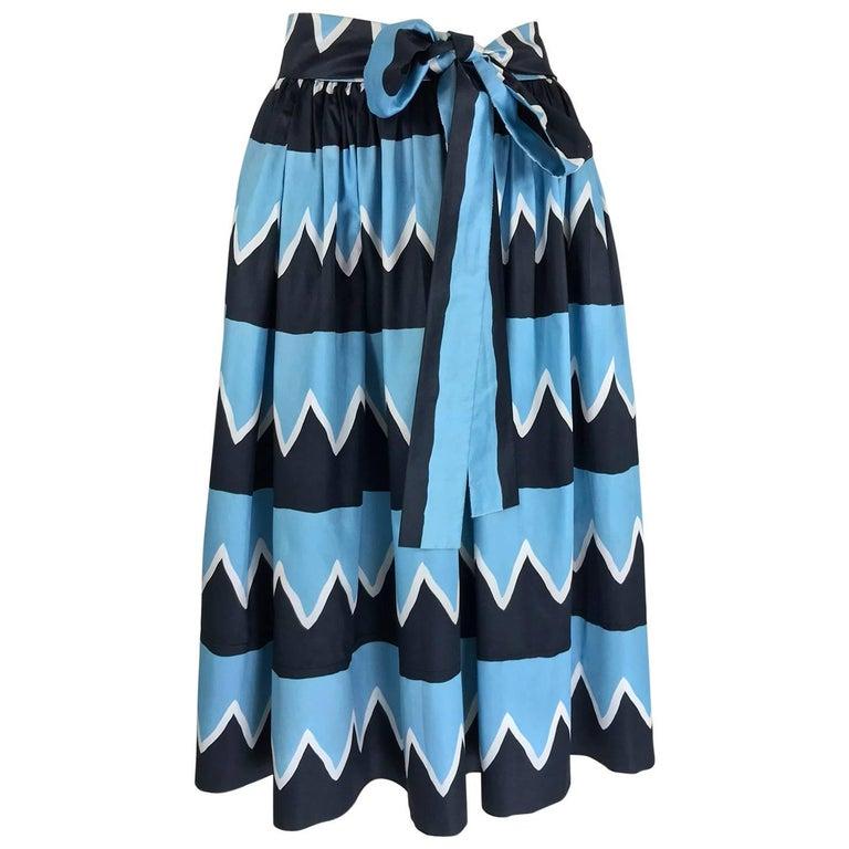 Yves Saint Laurent Iman worn documented cotton skirt, S / S 1980 For Sale