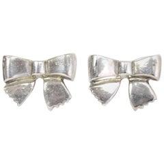 Chanel Sterling Silver Bow Stud Pierced Earrings