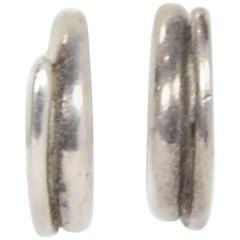 Chanel Sterling Silver Huggie Hoop Pierced Earrings