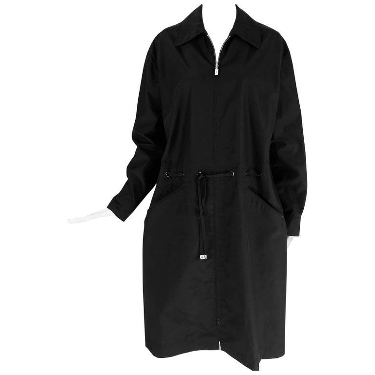 Chanel black zip front draw cord waist rain coat 1998P For Sale