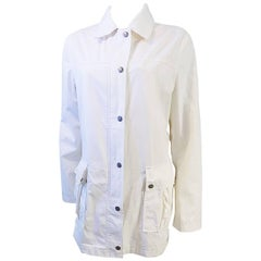 Burberry white w novacheck lining rain jacket