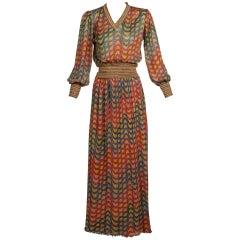 Missoni Multicolored Gold Metallic Lurex Print Top Skirt Set, 1970s