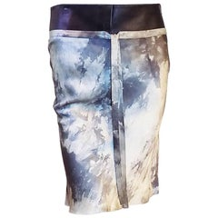 John Galliano for Dior Vintage watercolor silk skirt with leather waistband