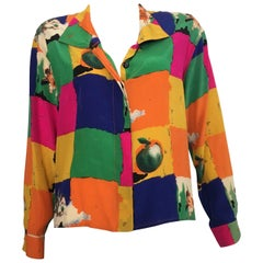 Ungaro Parallele Paris 1980s Silk Long Sleeve Abstract Blouse, Size 4 / 6.