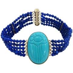 Vintage Gold & Turquoise Scarab Beetle Bracelet