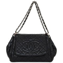 Chanel Black Quilted Caviar Leather Timeless CC Accordion Flap Bag