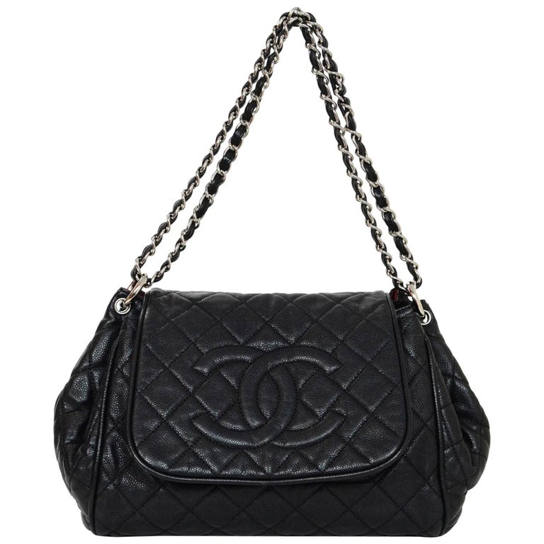 a809a348dece Chanel Black Quilted Caviar Leather Timeless CC Accordion Flap Bag For Sale