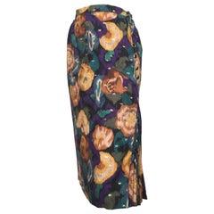 Emanuel Ungaro 1980s Long Floral Skirt Size 4/6.