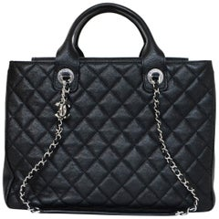Chanel 2018 Black Quilted Caviar Shopping Satchel Bag with DB