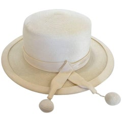 Panama style Ivory Straw Boater Hat, 1970s