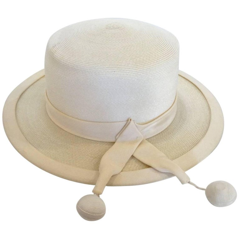 Panama style Ivory Straw Boater Hat, 1970s For Sale