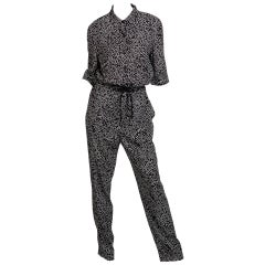 Sonia Rykiel Black and White Star Printed Drawstring Jumpsuit, 2015