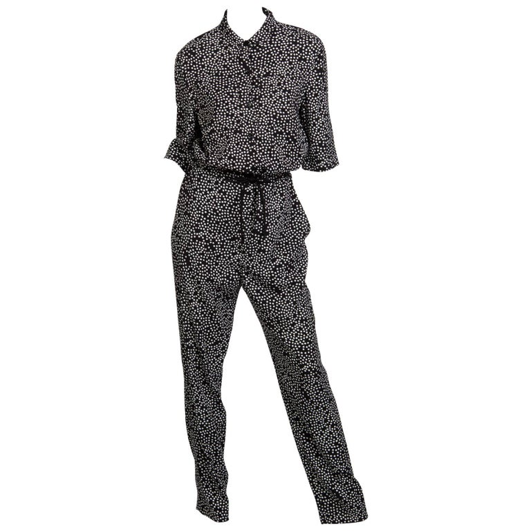 Sonia Rykiel Black and White Star Printed Drawstring Jumpsuit, 2015  For Sale