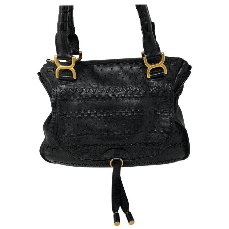 Chloe Embroidered Marcie Black Hobo Bag