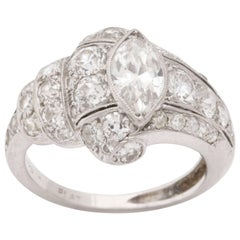 Art Deco Platinum Marquise Diamond Cocktail Ring
