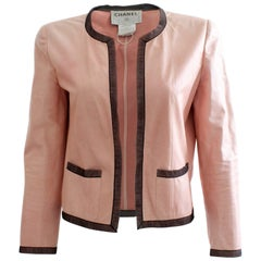 Rare Chanel Pink Lambskin Leather Jacket Lace Trim 03P Runway Collection Size 40