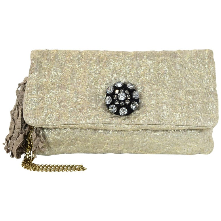 Lanvin Gold Lurex Sac Oulouette Clutch/Wristlet Bag with Dust Bag