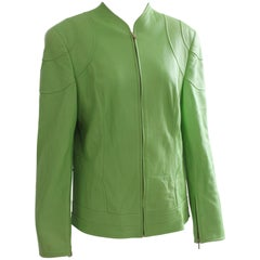 Escada Green Lambskin Leather Jacket with Zipper Sz 44