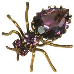Victorian Amythest Crystal Spider Brooch