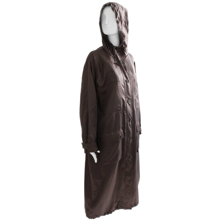 Sonia Rykiel Brown Satin Trench Coat with Hood, 1990s  For Sale