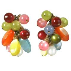 Napier Moon Glow Berry Cluster Ear Clips