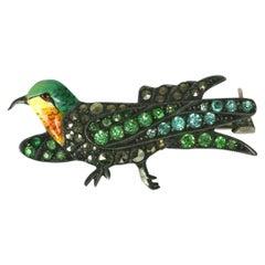 Charming Art Deco Marcasite Bird Brooch