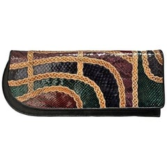 1980's CARLOS FALCHI asymmetrical snakeskin patchwork clutch bag with strap
