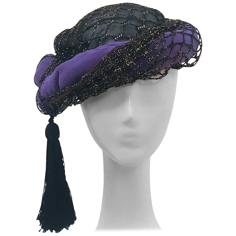 Irina Roublon Purple and Black Velvet Turban, 1940s