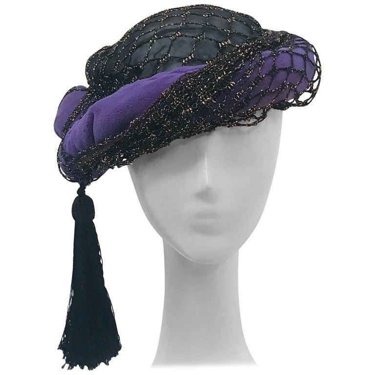 Irina Roublon Purple and Black Velvet Turban, 1940s  For Sale