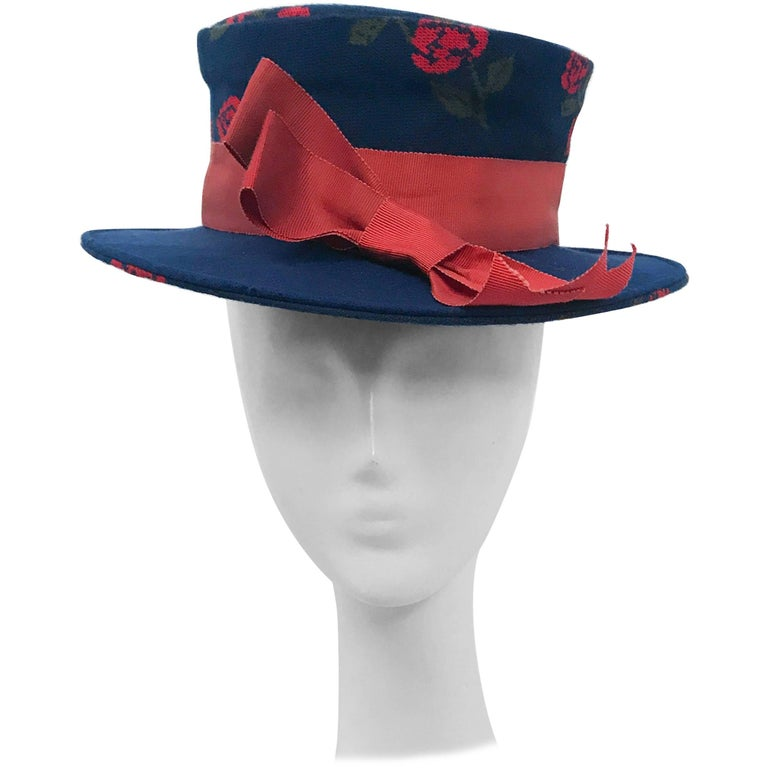 1960s Blue Woven Rose Boater Hat with Rust Hat Band and Bow