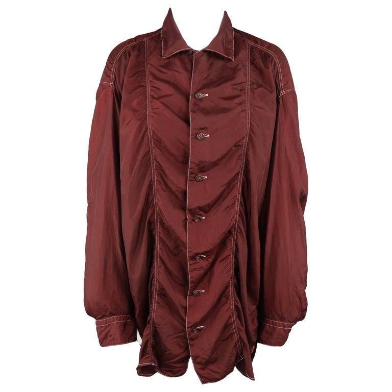 Issey Miyake Burgundy Taffeta Gathered Contrast Stitch Shirt