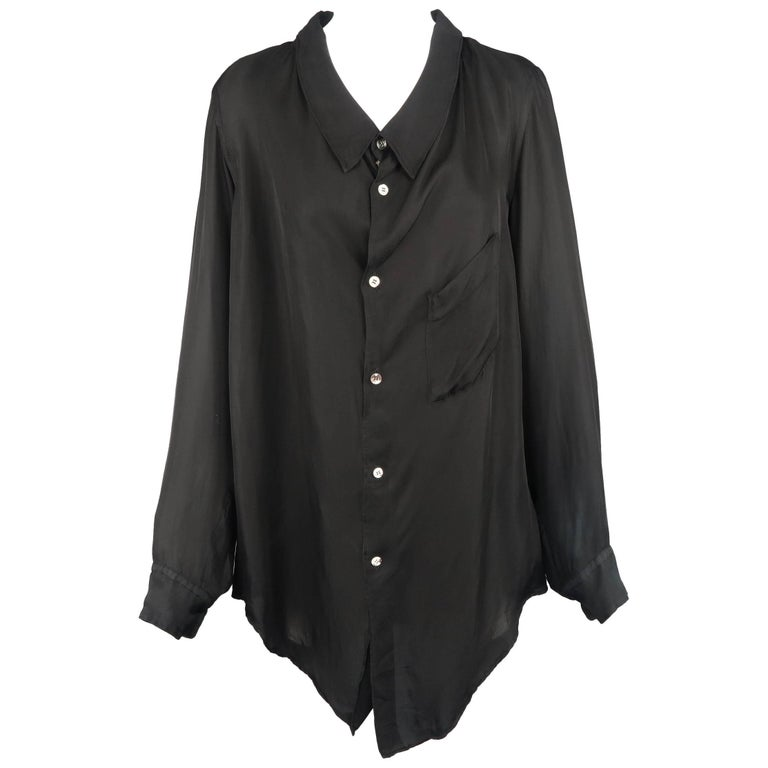 Comme Des Garcons Black Rayon Oversized Collared Blouse