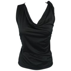 YVES SAINT LAURENT by TOM FORD Size L Black Cotton Tied Shoulder Tank Top