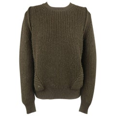 Givenchy Olive Camel Hair Waffle Knit Ribbed Stripe Sweater