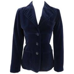 Yves Saint Laurent Rive Gauche Navy Velvet Sport Coat Jacket