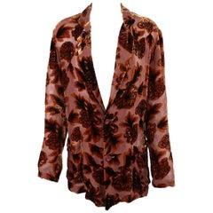 Yohji Yamamoto Rust Floral Burnout Velvet Jacket