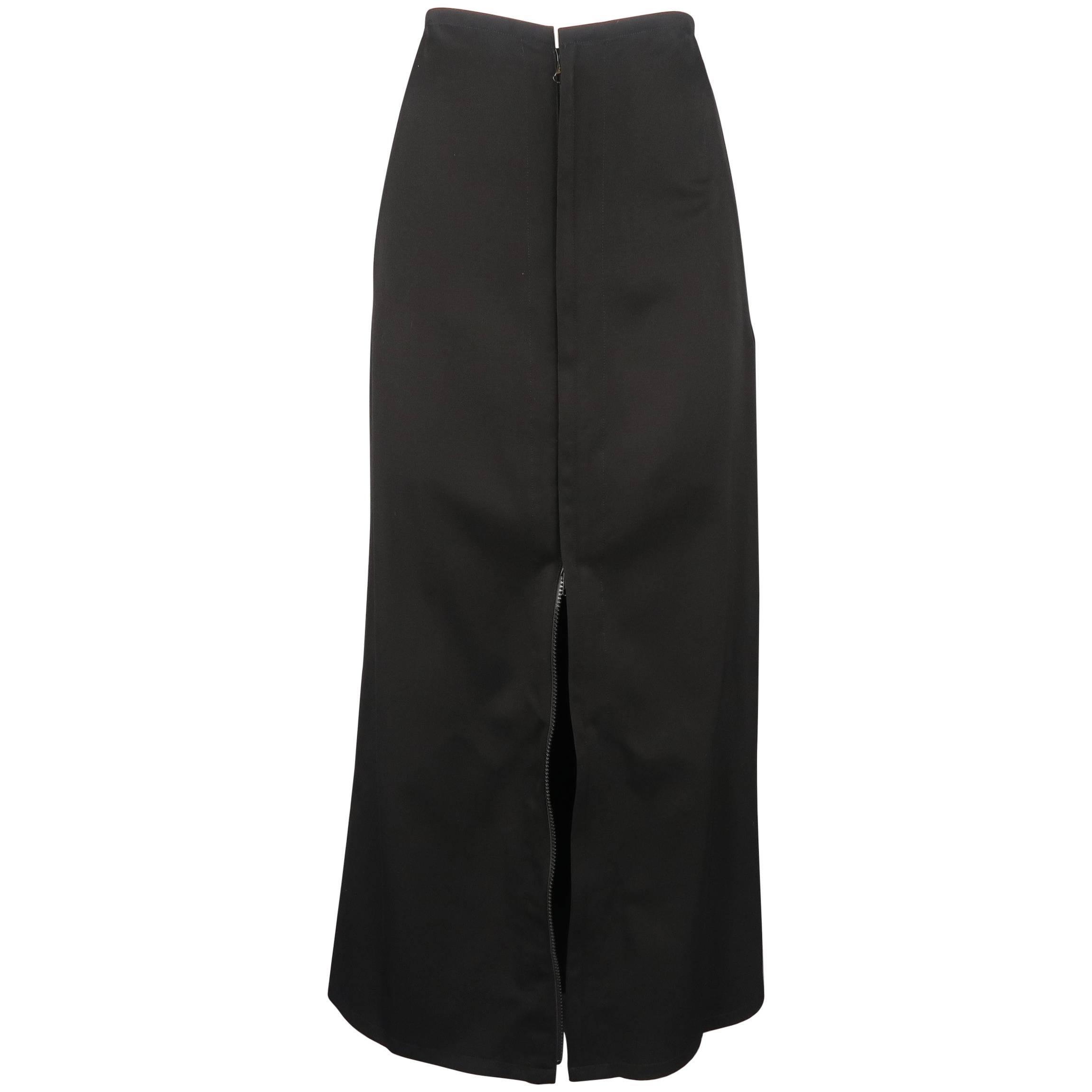 YOHJI YAMAMOTO Size XS Black Wool Double Zip Long A line Skirt